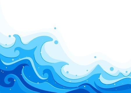 wave: Illustration of Giant Sea Waves Stock Photo