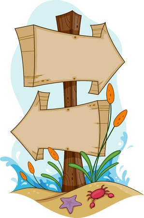 Illustration of Signs Pointing to Different Directions Stock Illustration - 9781920