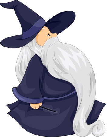 mage: Illustration of a Fat Wizard Walking Banque d'images