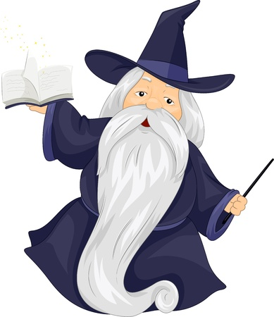 Illustration of a Fat Wizard Holding a Spell Book illustration
