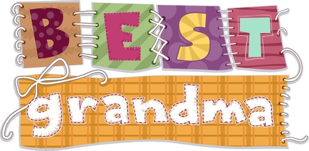 Illustration of Patches That Spells the Words Best Grandma illustration