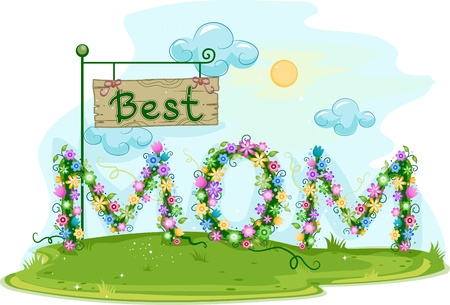 Illustration Featuring the Words Best Mom illustration