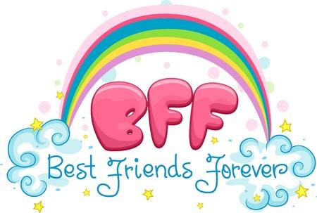 mejores amigas: Ilustraci�n con las palabras mejores amigos para siempre Foto de archivo