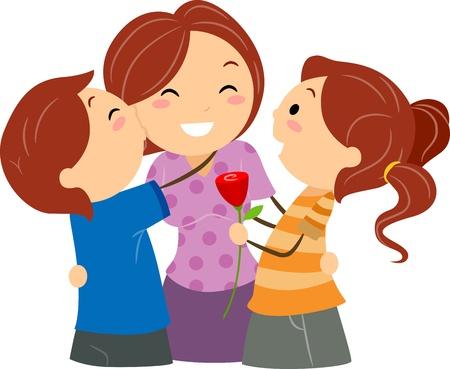 saluta: Illustrazione di bambini saluto la loro mamma della mamma