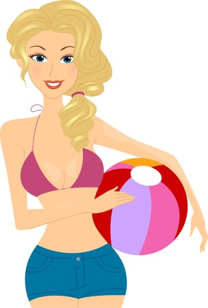 Illustration of a Girl Holding a Beach Ball illustration