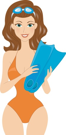 Illustration of a Girl Holding a Pair of Flippers Stock Illustration - 9847262