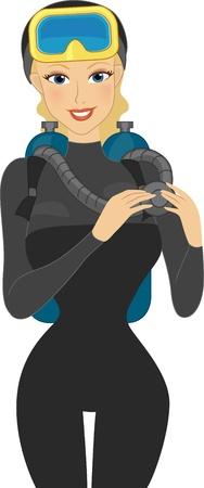 Abbildung von einem Mädchen Tragen Tauchausrüstung