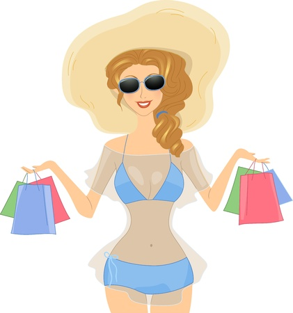 Illustration of a Girl Carrying Shopping Bags illustration