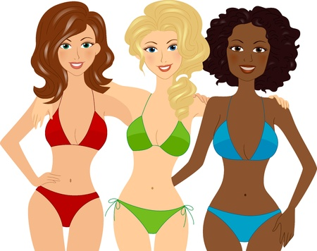 Illustration of Girls Wearing Swimsuits illustration