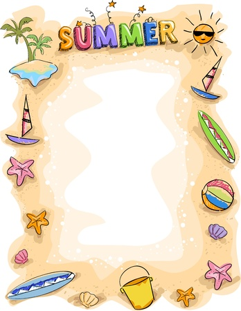 zomer: Background Illustration of Summer Doodles