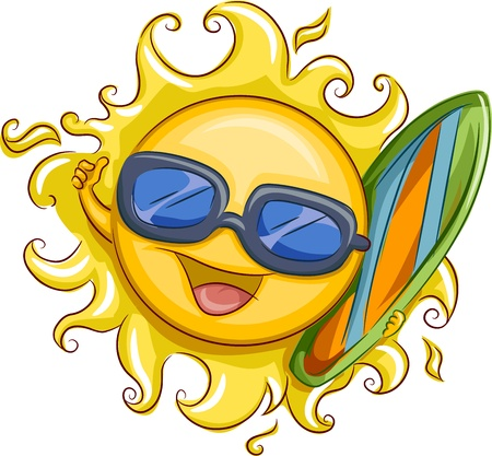 Illustration of the Sun Holding a Surfer Board illustration