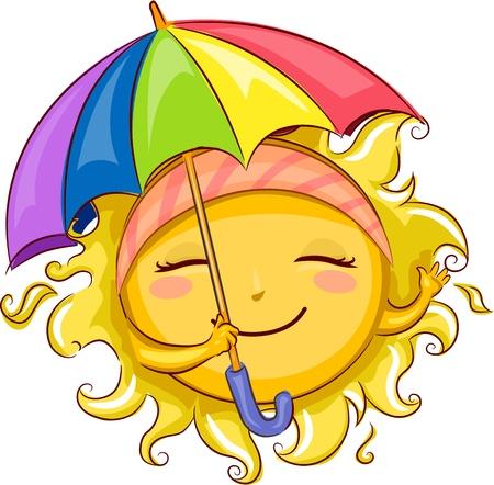 Illustration of the Sun Holding an Umbrella Stock Illustration - 9863496