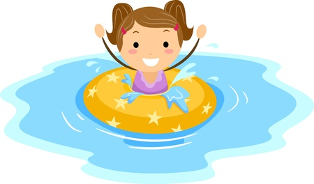 Illustration of a Girl Wearing a Flotation Device illustration