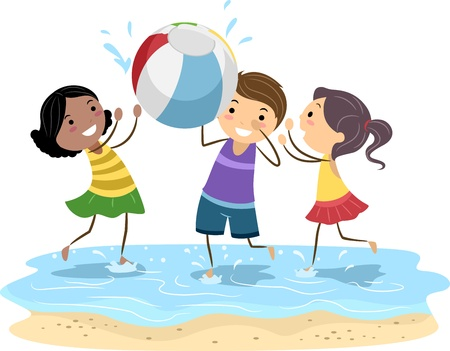 Illustration of Kids Playing with a Beach Ball Stock Illustration - 9863467