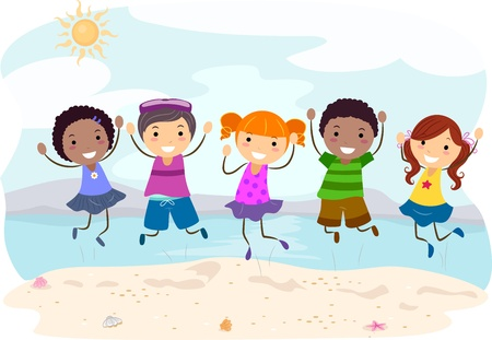 Illustration of Kids Jumping on the Beach illustration