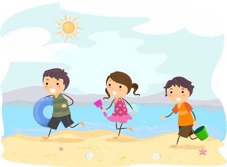 Illustration of Kids Running on the Beach illustration