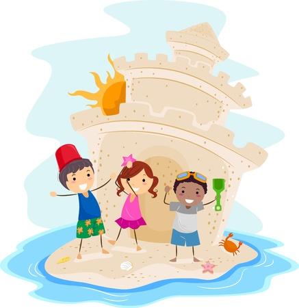 chateau de sable: Illustration des enfants pr�sentant un grand ch�teau de sable Banque d'images