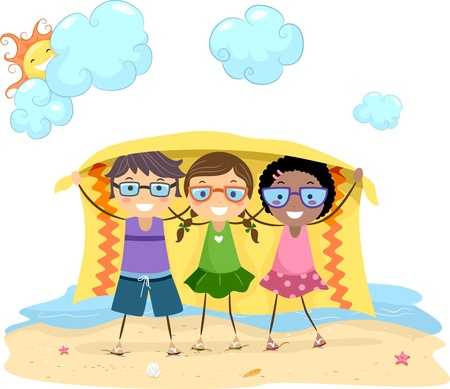 Illustration of Kids Holding a Blanket Stock Illustration - 9863484