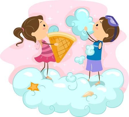 eating ice cream: Illustrazione di Kids Ice Cream Mangiare In Clouds