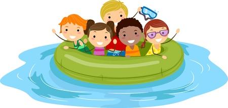 Illustration of Kids on an Inflatable Boat illustration