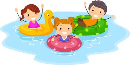 swim boy: Illustration of Kids Wearing Flotation Devices