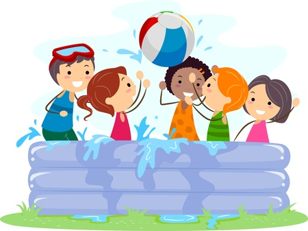 Illustration of Kids Playing in an Inflatable Pool illustration