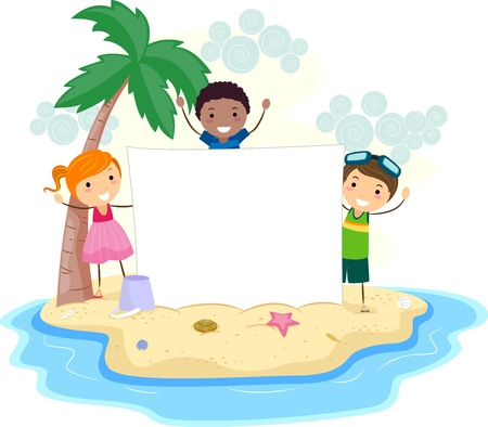 Illustration of Kids Holding a Banner illustration