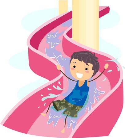 WATER SLIDE: Illustration of a Kid on a Water Slide