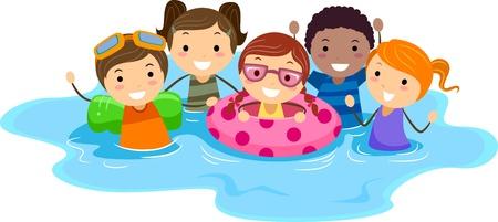 natacion: Ilustraci�n de los ni�os en una piscina