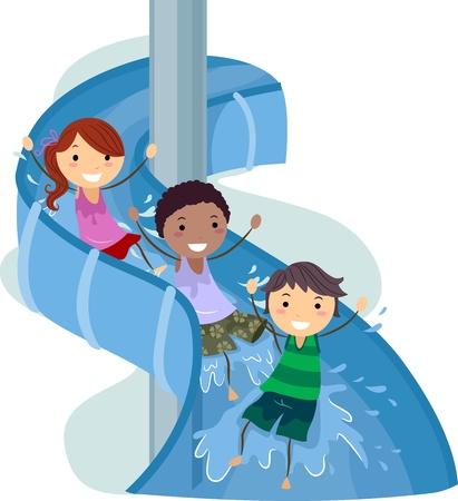 rutsche: Abbildung der Kinder auf eine Wasserrutsche