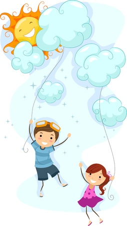 Illustration of Kids Using Clouds as Kites Stock Illustration - 9863464