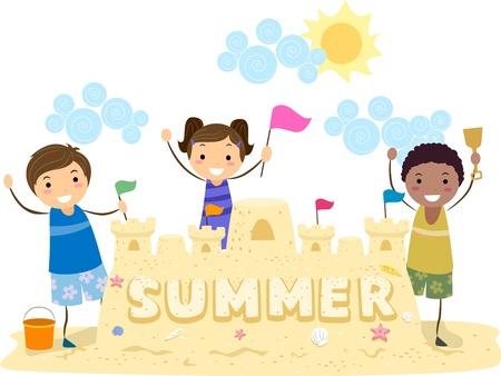 chateau de sable: Illustration des enfants pr�sentant leur ch�teau de sable