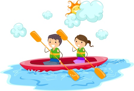 child sport: Illustration of Kids Riding a Kayak