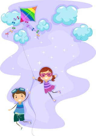 Illustration of Kids Hanging Unto a Kite illustration