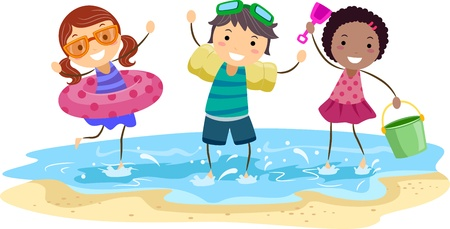 kids playing beach: Illustration of Kids Playing on the Beach