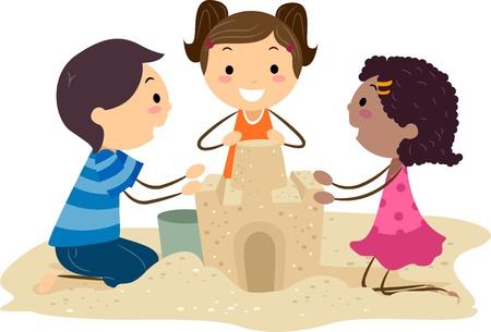 chateau de sable: Illustration de Kids construire un ch�teau de sable Banque d'images