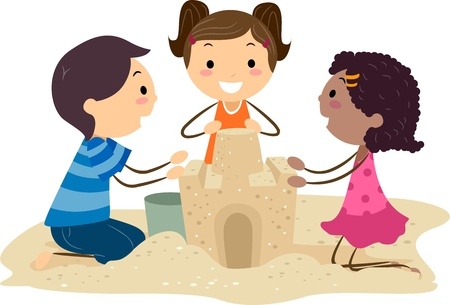 white sand beach: Illustration of Kids Building a Sand Castle