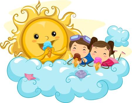 eating ice cream: Ilustraci�n de ni�os comiendo helado con el sol