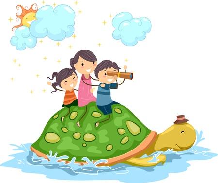 Illustration of Kids Riding on a Giant Turtle illustration