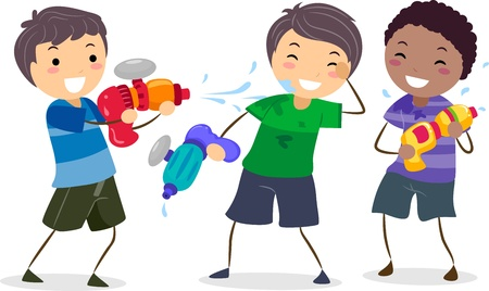 Illustration of Boys Playing with Water Guns illustration