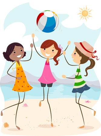 Illustration of Girls Playing Beach Volleyball illustration