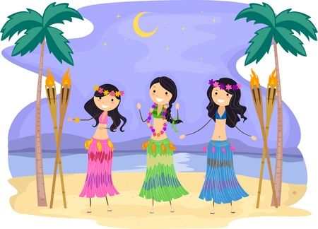 Illustration of Girls Performing a Hula Dance illustration