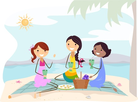 Illustration of Girls on a Picnic Stock Illustration - 9915249