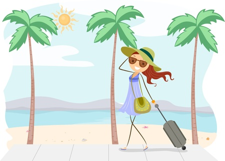 Illustration of a Girl on Vacation Stock Illustration - 9915253