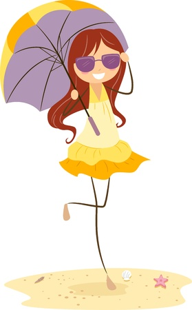 Illustration of a Girl Holding an Umbrella illustration