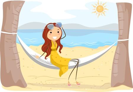 Illustration of a Girl Sitting on a Hammock illustration