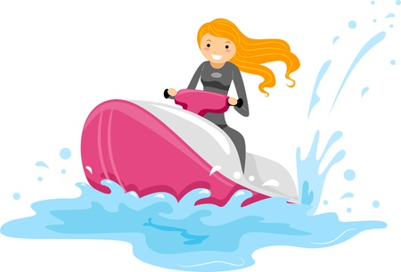 dry suit: Illustration of a Girl Riding a Jet Ski