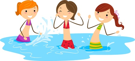 Illustration of Girls Playing with Water illustration