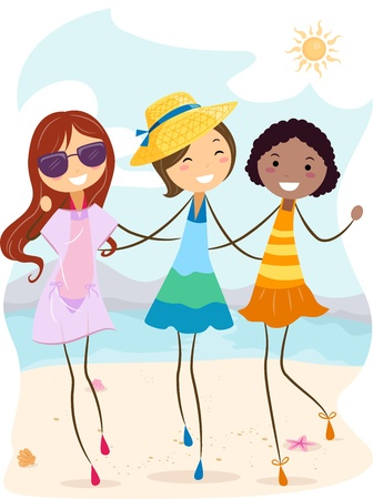 Illustration of Girls Enjoying the Summer Heat illustration