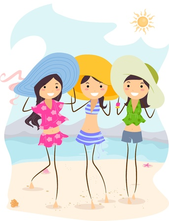 Illustration of Girls Wearing Different Summer Outfits illustration
